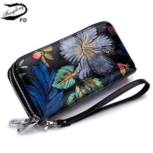 Fengdong female vintage black flower card wallet women clutch phone bag coins with a secret ladies leather purse for girls gift