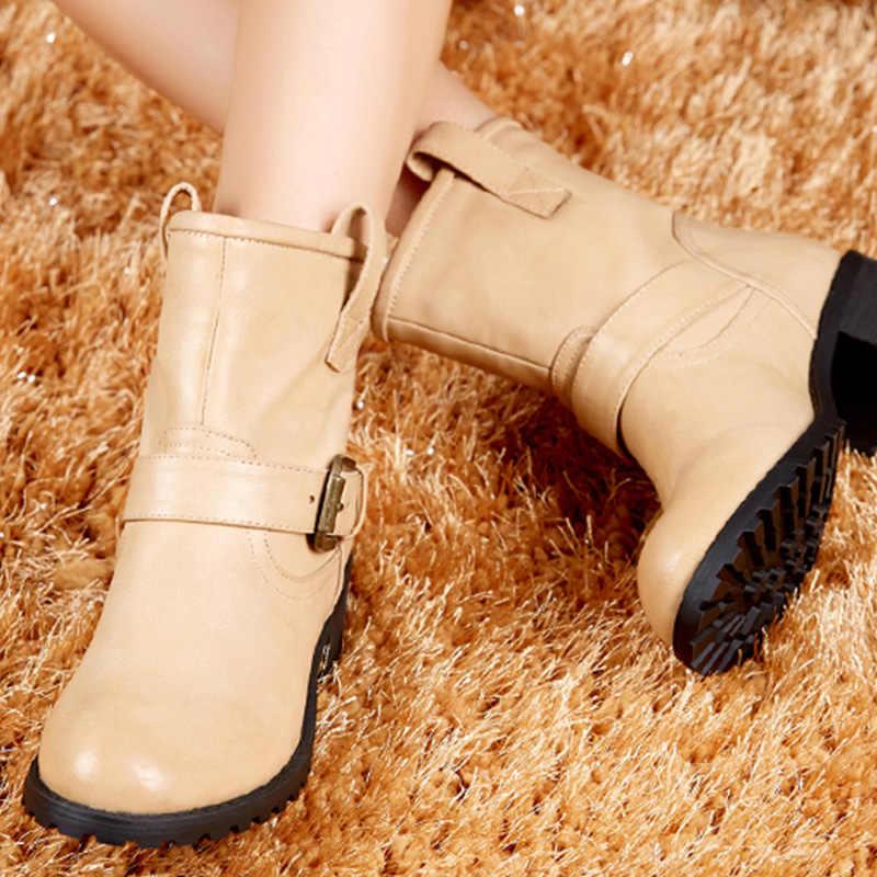 2019 yeni kış kadın botları rahat ayakkabılar bayanlar orta çizmeler siyah kırmızı moda kadınlar fermuar kış yarım çizmeler kadın