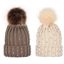 Winter Hats For Kids Parent Child Pompom Fur Knitted Beanie Caps Women