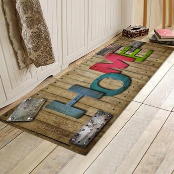 Alfombra Retro nostálgica con impresión inglesa sala de estar dormitorio alfombra de franela cocina baño alfombra antideslizante absorbente para el hogar