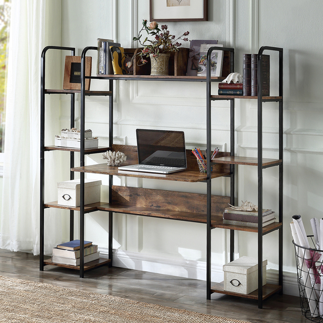 Home Office Computer Desk With Double Bookcase  4