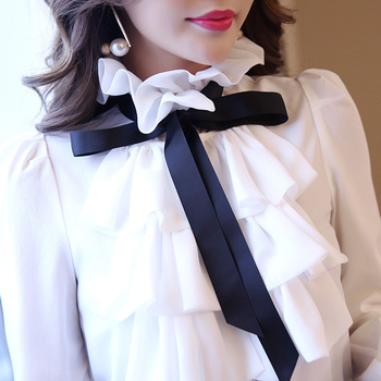 New shirt women Tops white Ruffles Bow Long Sleeve Shirt Chiffon Blouse 2021 New Work Wear Office Blusas Femininas Fashion 570A 5
