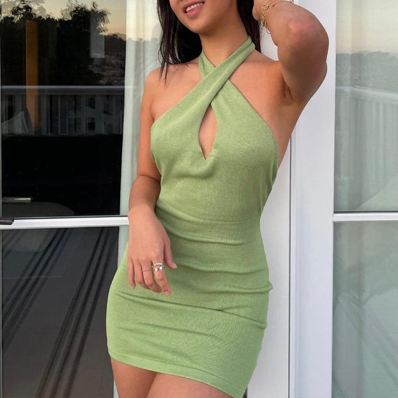 CHRONSTYLE Сексуальное женское платье с открытыми плечами, летняя пляжная одежда 2021, повседневное однотонное зеленое платье с открытой спиной