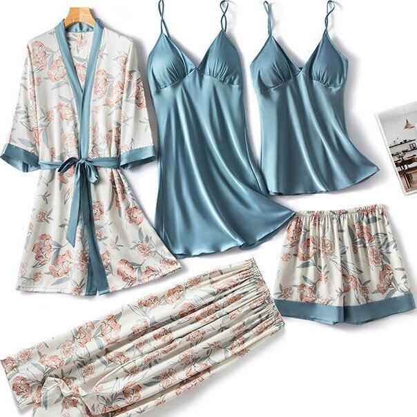 Satin 5PCS Kimono Robe Gown Sets For Women Print Flower Sleepwear Summer Thin Lingerie Nightwear V-Neck Bathrobe Comfy Pajamas