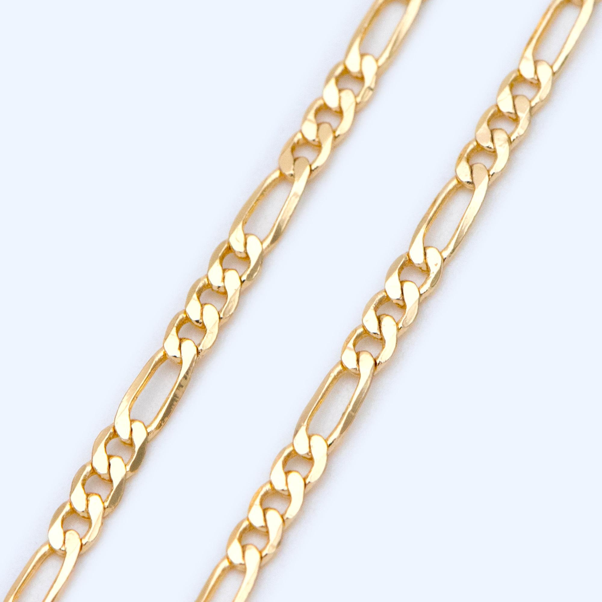 Sample Lot 3 feet Antique Brass Figaro Chain of Antique Bronze SOLDERED Chain Sturdy figaro chain 2x4.5mm Necklace Bracelet Wholesale bulk