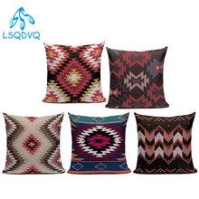Vintage estilo rojo Retro funda de almohada sofá geométrico de algodón Lino cubierta Cojín cuadrado para sofá coche casa sala de estar