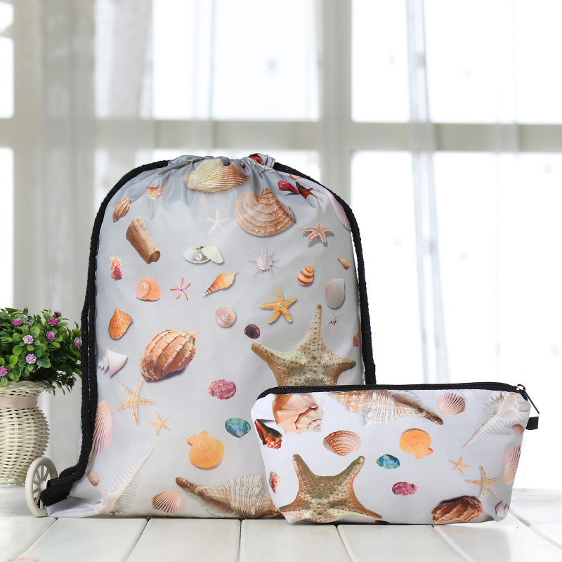 Drawstring Suit Backpack Drawstring Bags Fashion  Printing Men Casual Bags Unisex Women's Shoulder 3D Clutch Bag Polyester New