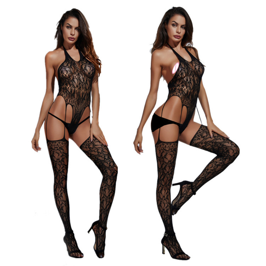 2019 New Open Crotch Women Sexy Bodystocking Erotic Lingerie Black Fetish Body Porno Underwear Crotchless Babydoll Costumes