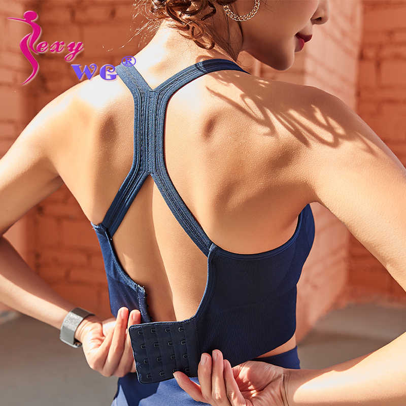 SEXYWG Women Push Up Sports Bra Workout Yoga Tops Crop Fitness Active Wear For Running Gym Shockproof Brassiere Shirt Sportswear