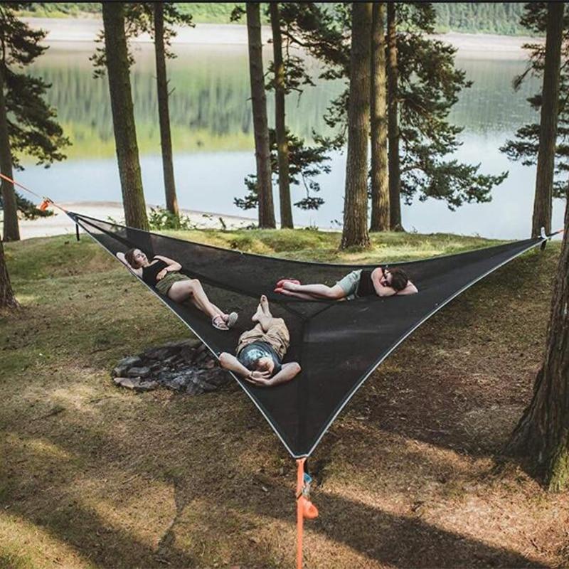 MULTI PERSON HAMMOCK PATENTED 3 POINT DESIGN Portable Hammock Multi functional Triangle Aerial Mat Convenient Camping Sleep|Hammocks| - AliExpress