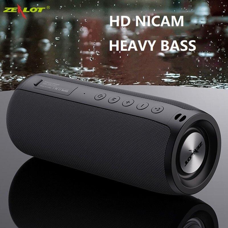 ZEALOT мощный Bluetooth-динамик с басами, беспроводной портативный сабвуфер, водонепроницаемый звуковой бокс с поддержкой TF, TWS, USB-флеш-накопителя