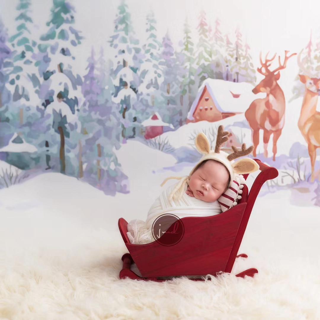 Реквизит для фотосъемки новорожденных, креативный Рождественский Снежный автомобиль, аксессуары для детской осанки, студийный реквизит для фотосъемки