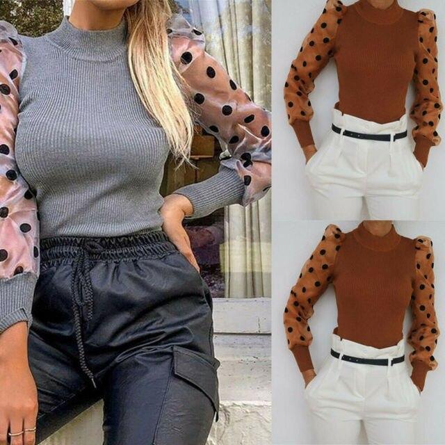 Elegant Slim Polka Dot Puff Long Sleeve Tops Shirt Turtleneck Fall Blouse 1