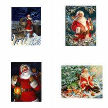 4 Pack 5D DIY Round Diamond Painting Kits Chrismas Half Drill Rhinestone Embroidery Cross Stitch for Christmas Home