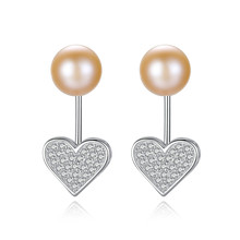YUEYIN Silver 925 Earrings Nature Pearl CZ Stud for Women Cute Heart  Party Jewelry Gift