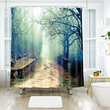 3d Landscape Trees Pattern Wild Ancient Tree Shower Curtains Waterproof Thickened Bath Curtains for Bathroom Customizable