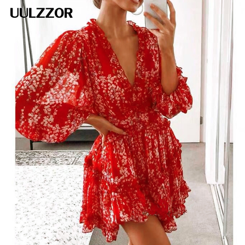 UULZZOR women dresses Sexy v-neck backless dress printed Elegant lantern sleeve ruffle dresses Autumn holiday mini dress Vestido