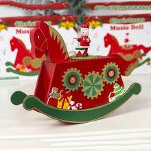 Цветная Деревянная Рождественская музыкальная шкатулка, рождественские украшения, подарок на праздник для детей