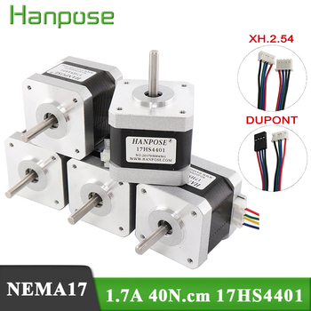 цена на Free shipping 5pcs 4-lead Nema17 40mm Stepper Motor 42 motor Nema 17 motor 1.7A (17HS4401) 3D printer motor and CNC XYZ