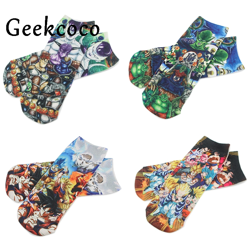 J1204 Cartoon Anime Dragon Ball Punk Cotton Short Socks Cute Unisex Skatebord Socks Fashion One Side Print Socks