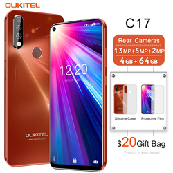 4G Mobile Phone OUKITEL C17 Android 9.0 Smartphone 6.35'' Face ID Fingerprint Octa Core 3GB 16GB 3900mAh Triple Camera MT6763 4