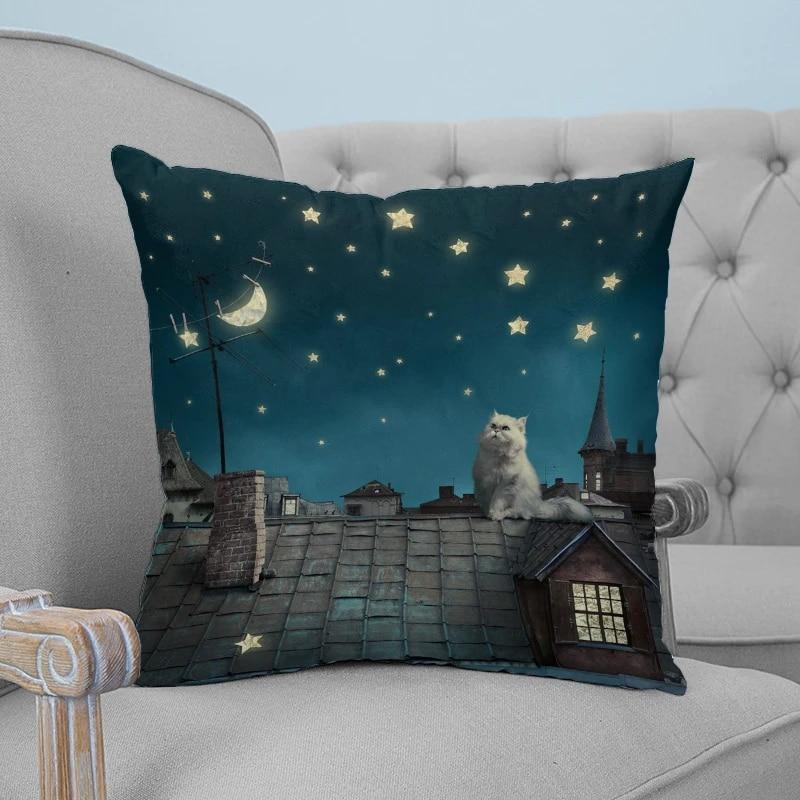 Kitten House Roof Moon Throw Pillow Cushion Cover Car Home Decor Decoration Sofa Decorative Pillowcase Pillow Case Aliexpress