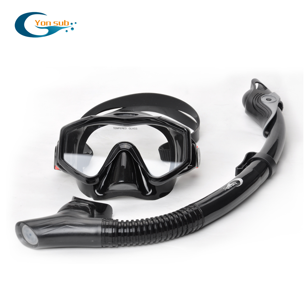 Silicone Tempered Glass Professional Scuba Swimming Diving Mask Set Diving Mask + Dry Black Snorkel For Underwater Hunting