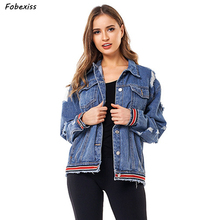 Jeans Jackets Women Coat Autumn 2019 New Fashion Plus Size Ribbon Long Sleeve Pocket Hole Vintage Denim