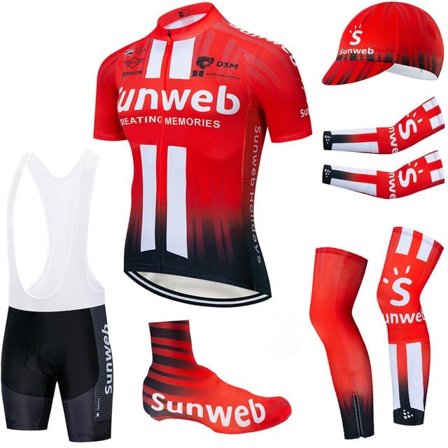 צוות SUNWEB רכיבה על בגדי 20D אופני מכנסיים קצרים חליפת Ropa Ciclismo קיץ מהיר יבש רכיבה על אופניים ג רזי מאיו שרוולי מחממי