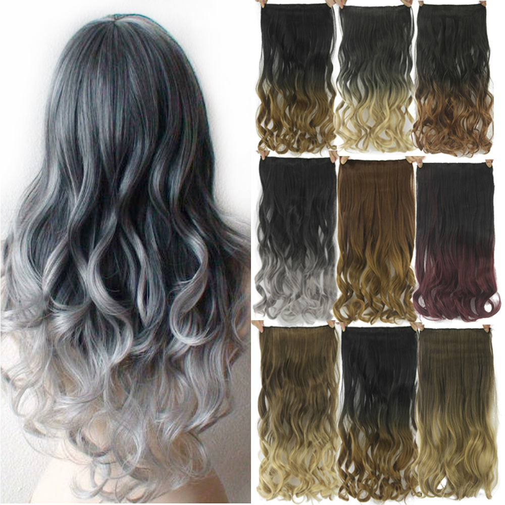 Soowee 60cm Long Black To Grey Curly Synthetic Hair Ombre Hair Clip In Hair Extension Fake Clip Ins Hair Pieces For Women