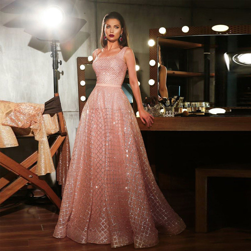 BacklakeGirls 2019 Jersey Boat Neck Pink Evening Dresses Spaghetti Strap A Line Long Women Formal Night Party Dress Sleeveless
