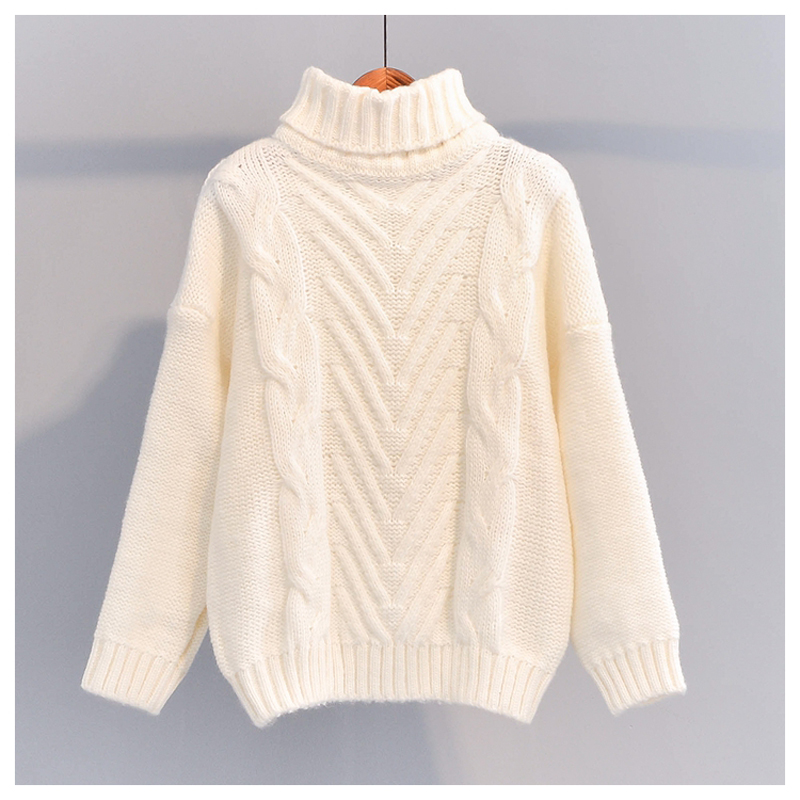 Winter Thick Turtleneck Chunky Oversized Warm Sweaters For Women 2019 Long Sleeve Solid White Cable Knit Pullover Tops One Size
