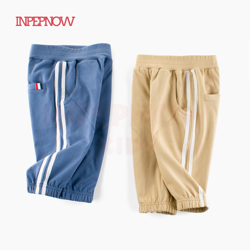 INPEPNOW Long Style Stripe Children's Shorts For Boy Sport Summer/Spring Girls Shorts For Kids Short Pants Baby Clothes CZX39