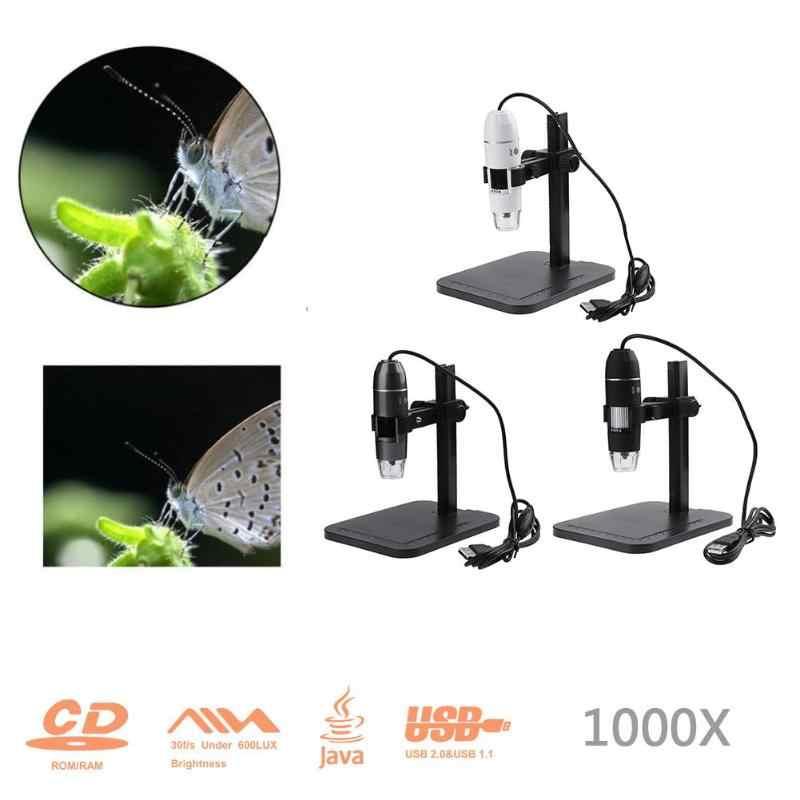 ใหม่ USB ดิจิตอล 1000X 800X กล้องจุลทรรศน์ 8 LED 2MP อิเล็กทรอนิกส์กล้องจุลทรรศน์กล้องจุลทรรศน์แว่นขยายกล้องขาตั้งยกเครื่องมือ