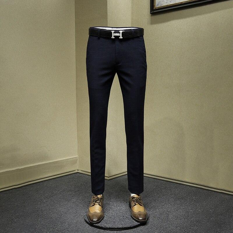 Autumn Winter Men Pants Deep Blue Slim Man Streetwear Business Mens Casual Pants Thicken Warm Clothing Suits Pant Long Trousers