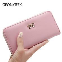 2019 Women Long Clutch Wallets Female Fashion PU Leather Bowknot Coin Bag Phone