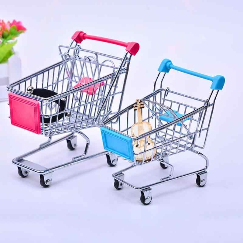 Baby Speelgoed Supermarkt Hand Trolley Mini Winkelwagen Desktop Decoratie Opslag Speelgoed Gift Poppenhuis Meubels Accessoires