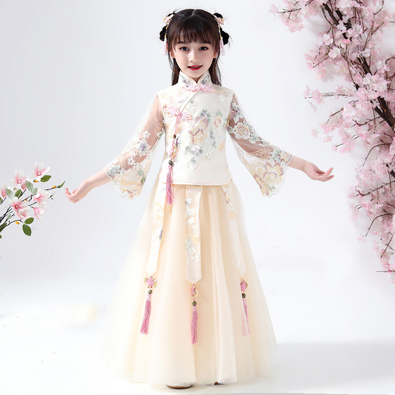 Flower Girls Dresses 2PCS Kids Dresses For Girls Chinese Cheongsam Baby Elegant Clothes Traditional Chinese Garments For Child