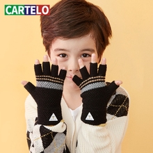 Half-Finger-Gloves Knitted Striped Winter Long And Windproof Autumn Children CARTELO