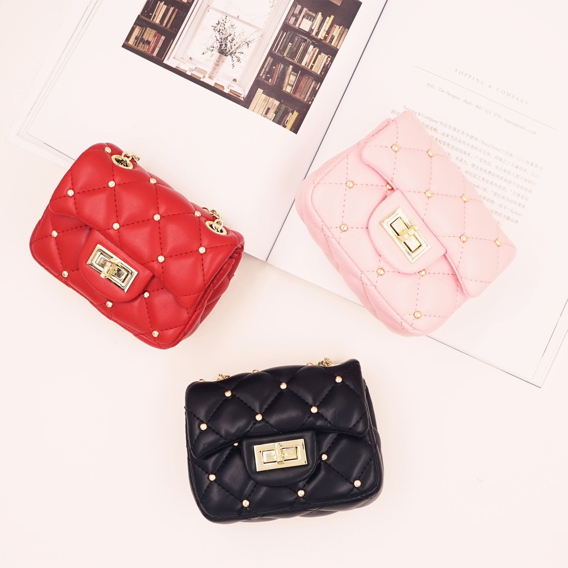Kids Baby Girl Mini Bag Fashion Cute Girl Bag PU Leather Rivet Bags Princess Messenger Bag Korea Girl Chain Bag Fast Shipping