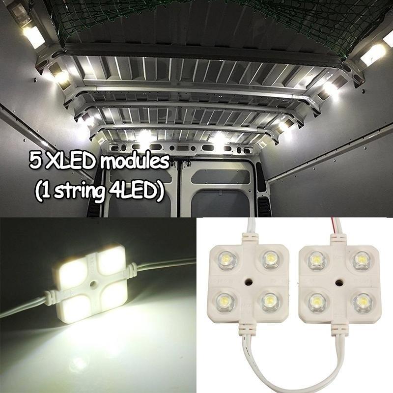 5x4led Led White Bed Light Interior Light Kit for LWB Van Trailer Card LED Injection Four Lights Square Module