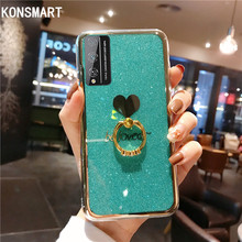 ghftty розовый 4t KONSMART For Huawei Honor Play 4T Case Glitter Love Finger Ring Phone Case Honor Play 4T Pro Silicone Luxury Soft Back Cover