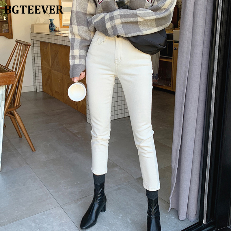 BGTEEVER Streetwear Skinny Denim Jeans Women High Waist Pockets Female Pants Capris Summer Female White Pencil Jeans 2020