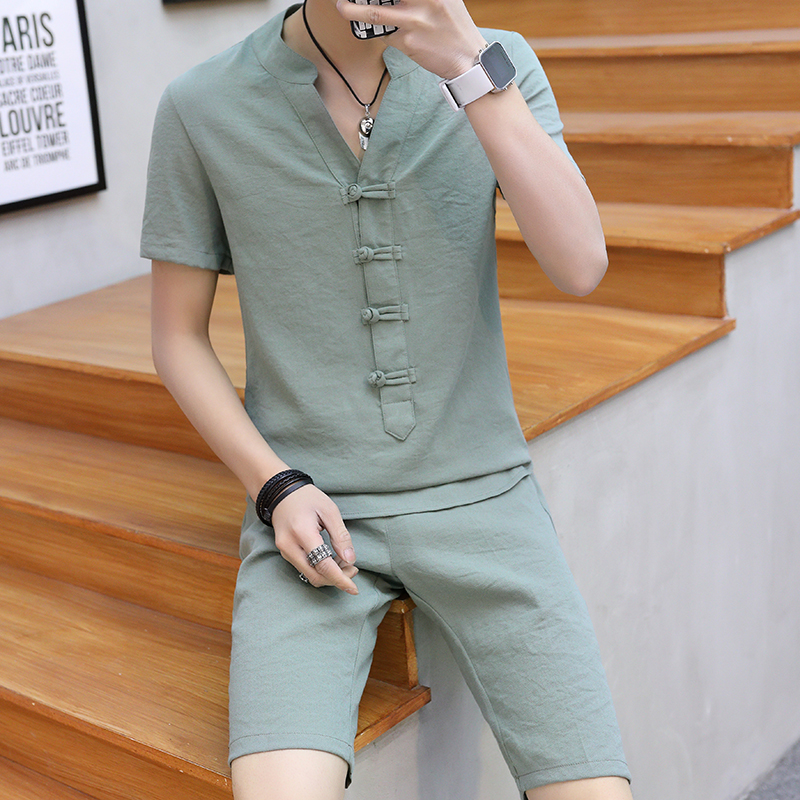 Summer Clothes Men  2 Pieces Sets VogueShorts And Short-sleeved Buckle T Shirt Men Breathable Slim Fit V Neck  Linen Suits