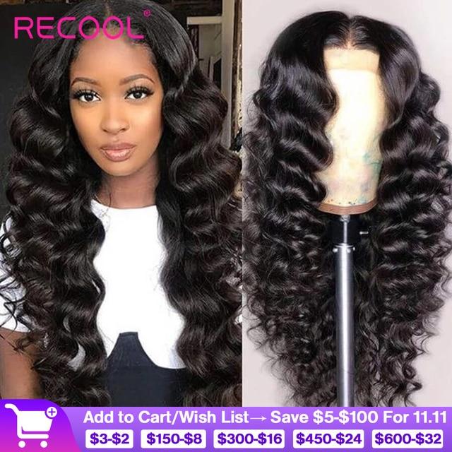 باروكات شعر بشري أمامية من الدانتيل من Recool باروكة واسعة مموجة 180 كثافة 250 باروكة أمامية من الدانتيل 360 باروكة شعر طبيعي مموج مسبقًا