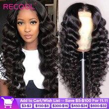 Recool תחרה מול שיער טבעי פאות Loose עמוק גל פאה 180 250 צפיפות 360 תחרה פרונטאלית פאה מראש קטף מתולתל שיער טבעי פאה