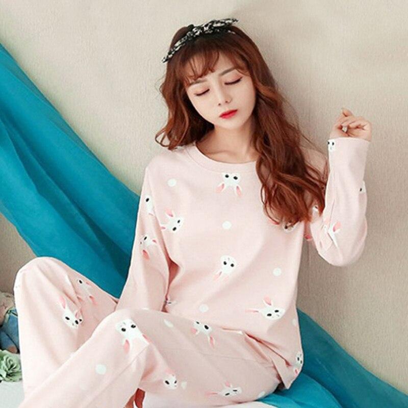 Women Pajamas Set Spring Autumn Thin Cartoon Printed Long Sleeve Cute Sleepwear Casual Homewear Pyjamas Female Female