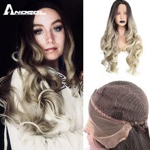 ANOGOL Deep Brown Ombre Blonde Synthetic Lace Front Wigs with Dark Roots Long Body Wave Wig for Women
