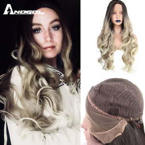Image 1 - ANOGOL Deep Brown Ombre Blonde Synthetic Lace Front Wigs with Dark Roots Long Body Wave Wig for Women
