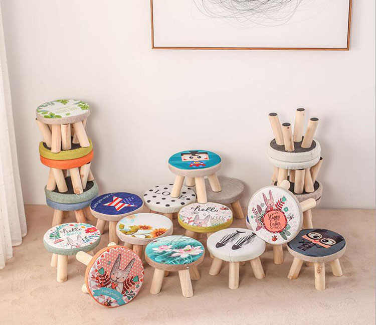 Eco-Friendly Wooden Stool Ottomans Round Fabric Footstool Chair with 4 legs Living Room Sofa chair Art Small Bench Home Furnitur
